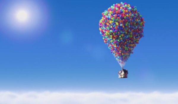 pixar, up, house, balloons, love, loss