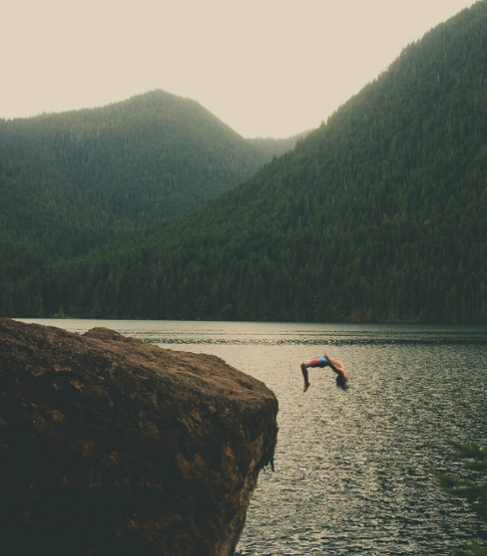 cliff diving, dive, sunset dive, mountain lake, risk