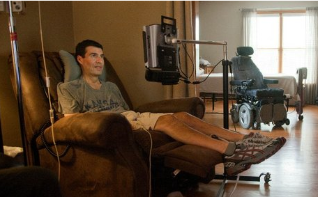 ALS, Lou Gehrig's disease, wheelchair man