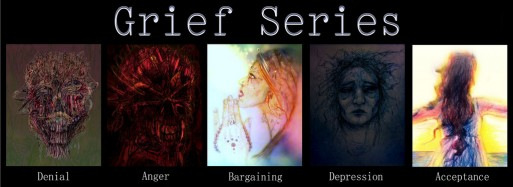 illustrated representations of the five stages of grief including denial, anger, bargaining, depression and acceptance