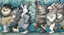 An illustration from Where The Wild Things Are featuring a boy wearing a crown riding on the back of a giant monster in a forrest