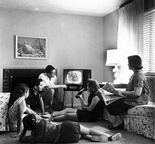 Family watching TV series