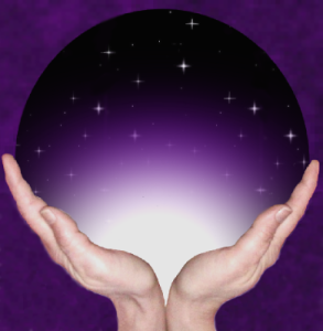 Logo for Journeys Beyond, Pashta's Death Midwifery service. Two hands cradle a purple orb of stars