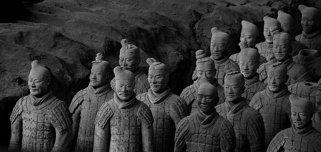 Soldiers made out of terracotta stand together