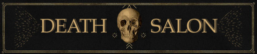 Death Salon banner image featuring text and image of human skull