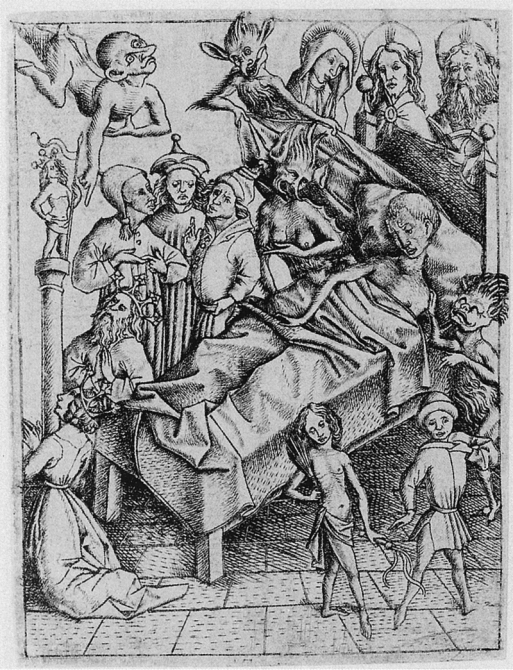 Temptation or lack of faith, one of the five temptations of the Ars moriendi, engraving circa 1450
