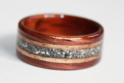 Touch Wood Memorial Ring, featuring inlaid cremains