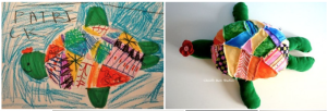drawing and resulting softie toy from Childsown