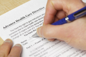 Filling out an advance directive for healthcare