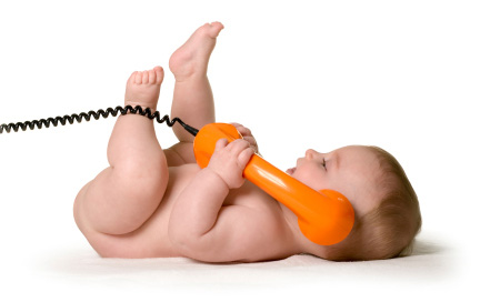 baby making a phone call