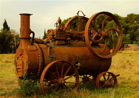 A rusted machine in a field where a dog is buried