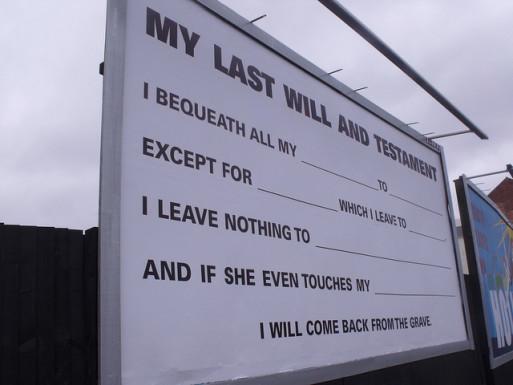 Last will and testament billboard