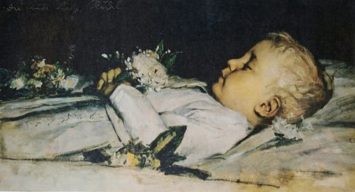 Deathbed portrait of his child by Albert Anker