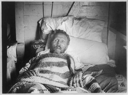 Deathbed photo of Father Damien of Molokai