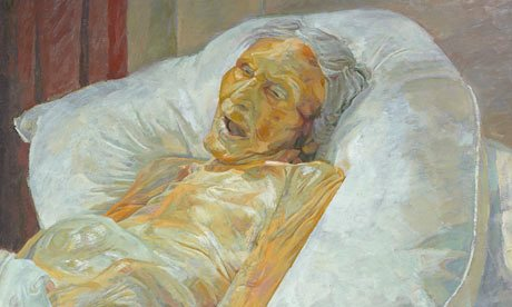 Painting of an elderly woman after death