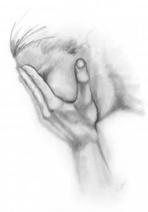 Pencil drawing of a grieving person