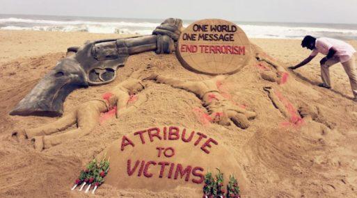 Sand art Stop terrorism