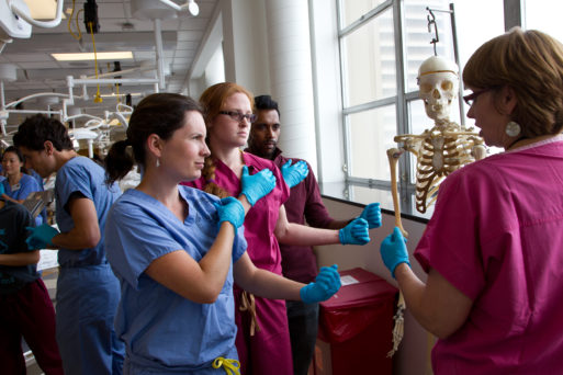 Medical students in anatomy lab