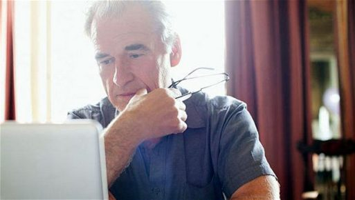 Man looking for Advance Directive online