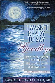Cover of the book I Wasn't Ready to Say Goodbye shows moon over ocean