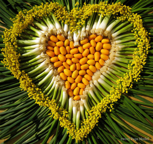 Handmade heart of scallions and seeds