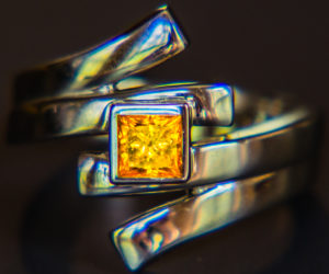 Claire McHan's yellow diamond ring, a piece of memorial jewelry that she made after her dad died