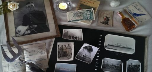 Personal items on a memorial table