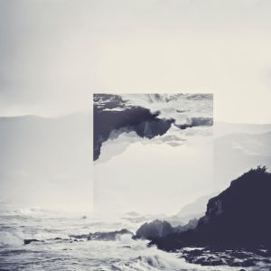 A photo of the ocean smashing against a rock, with an upside down, square image at the center representing anger in the five stages of grief