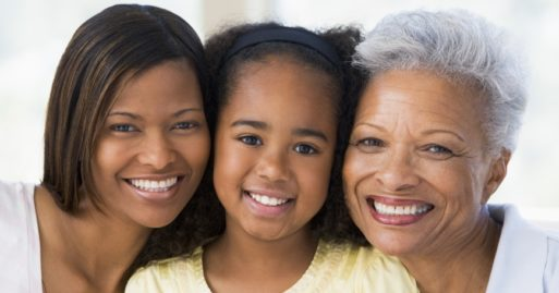 three generations of women show aging