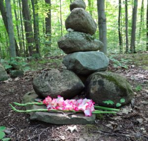 rocks placed in a forest with flowers for grief ritual