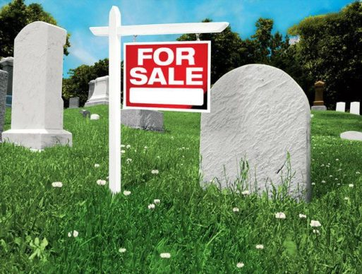 Burial plot with for sale sign