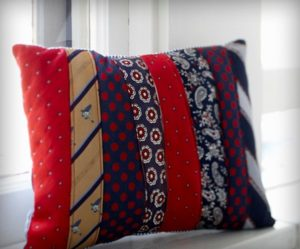 pillow made of the ties of a son who died