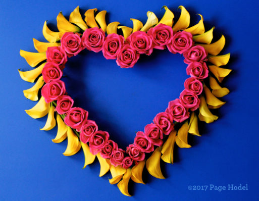 handmade heart with red and yellow flowers
