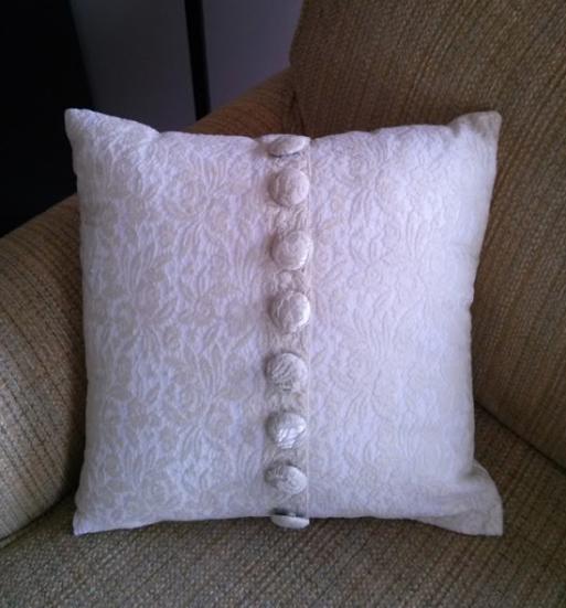 Pillow made of my dead mothers wedding dress