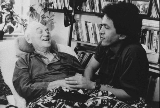 Morrie and Mitch Ablom sharing stories for Tuesdays with Morrie