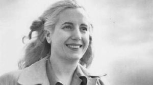 Black and white photo of young Evita Peron