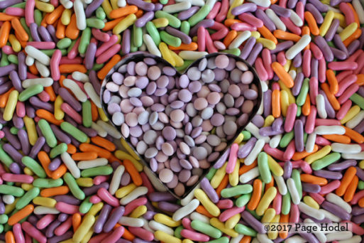 Heart made of colorful candies