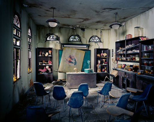 A post apocalyptic scene of an anatomy classroom