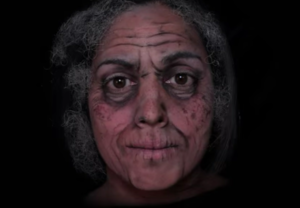Emma Allen's face painted with deep wrinkles and grey hair shows circle of life