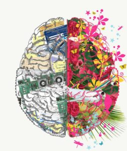 Drawing of a brain with beautiful cognitive thoughts around grief