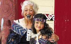 Maori girl and grandmother