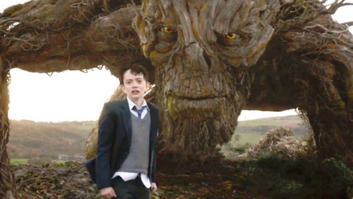 "Still shot of boy in the movie, ""A Monster Calls"" about grief healing"