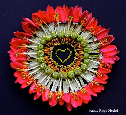 Handmade heart in bright pink, green, orange and white