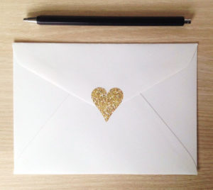 gold heart on thank you notes