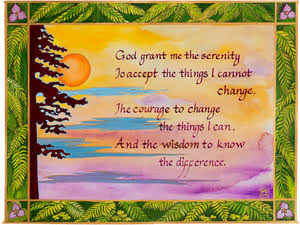 A painting of a religious quote made by Rabbi Me'irah, featuring an image of a sunset in the background