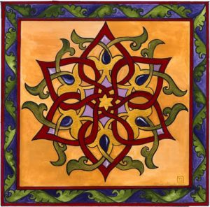 Rabbi Me'irah's painting of the Star of David, featuring red, green and orange lines forming the shape of a star