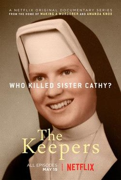 """The cover of """"The Keepers,"""" featuring a photo of Sister Cathy in her nun garb"""