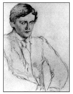 """Drawing of Ernest Dowson who wrote the poem """"Non sum qualis eram bonae sub regno Cynarae"""""""