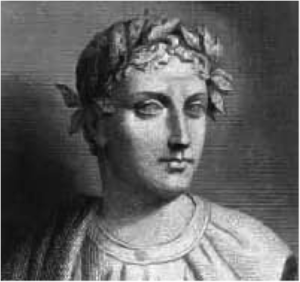 "A sculpture of Horace, who wrote the original ""Non sum qualis eram bonae sub regno Cynarae"""