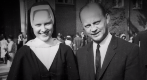 """A photograph of Sister Cathy standing next to a Catholic official in the documentary """"The Keepers"""""""